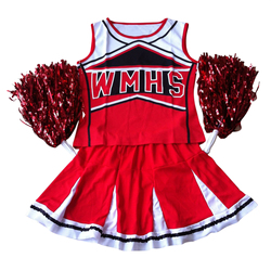 Jho-tank top petticoat pom cheerleader líderes s (30-32) 2 peça terno novo traje vermelho