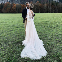 Ivory Blush Tulle Bohemian Wedding Dresses O Neck Puff Sleeve Fairy Bride to be Gowns Robe de soiree A Line Soft Noivas DW023