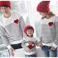 SL-82 Paquete Familiar Fashion Set Padre e Hijo de Algodón T-shirt Ropa de La Madre y el Niño A Juego de Rayas T shirt Tops