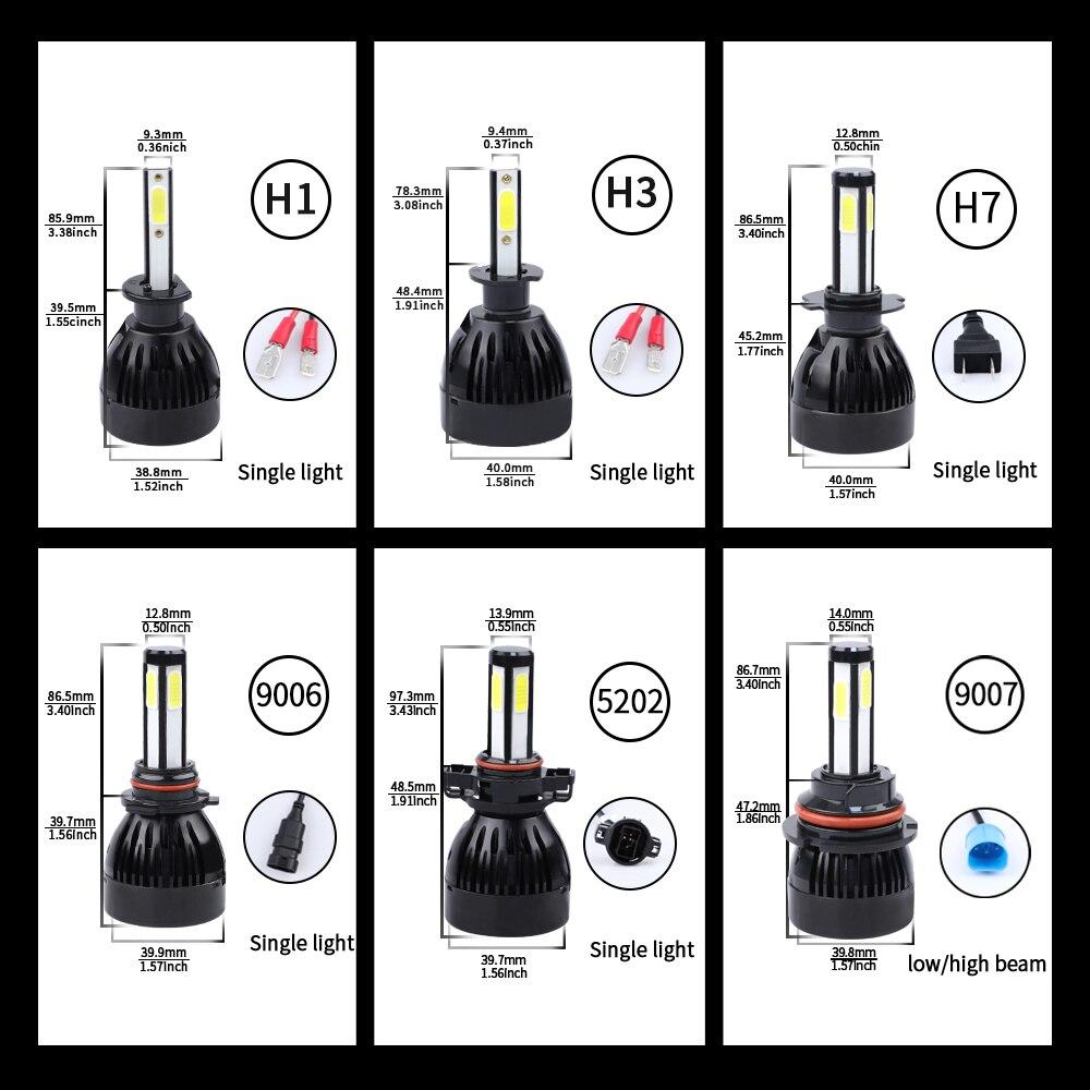 Image 5 - h4 led headlight H7 H11 H1 H3 880 9005 9006 hb3 hb4 5202 D2 9012 9004 9007 H13 H15 Car Light Bulb lampada H4 led COB 12V 6000K-in Car Headlight Bulbs(LED) from Automobiles & Motorcycles
