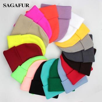 Solid Uni Beanie Autumn Winter Wool Blends Soft Warm Knitted Cap Men Women SkullCap Hats Gorro Ski Caps 24 Colors Beanies