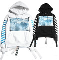 Exclusive!! Virgil Abloh OFF-White 2014 SS Off White OW wavy diagonal stripes printed  men  plus thick velvet sweatershirt