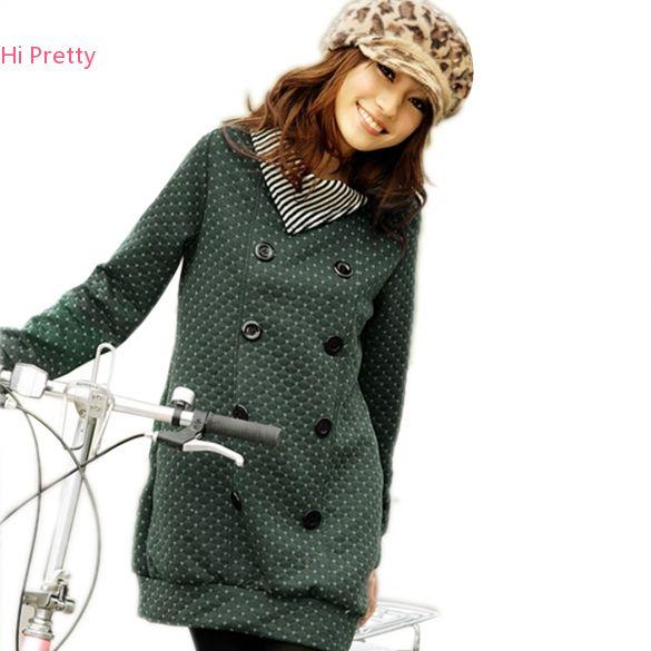 c07ff3adb Women s Coat Fashion Grid Sweatshirts Striped Collar Double breasted ...