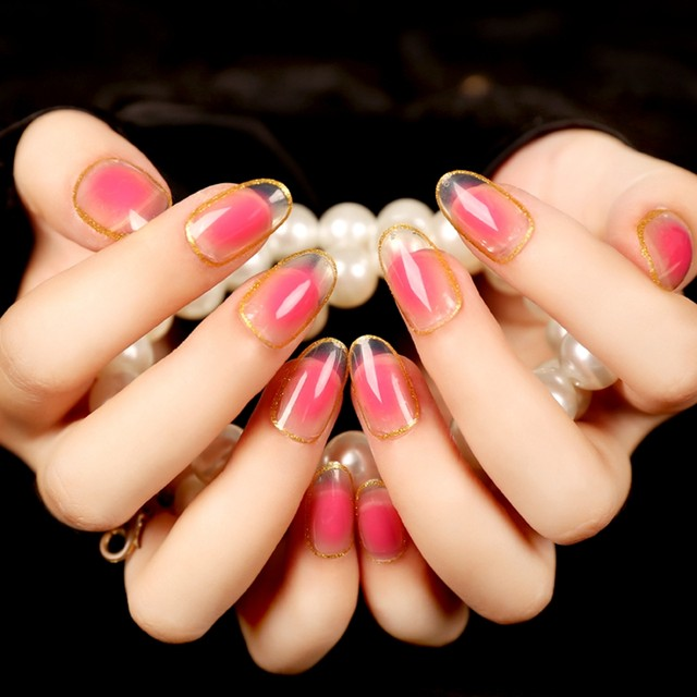 Sweet Jelly Color Oval False Nail Tips Peach Pink Glitter Gold Nails For Finger Datting Must Makeup 24Pcs Z109
