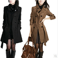 2016 otoño invierno mujeres más largo delgado ropa casual ropa de prendas de vestir exteriores de la chaqueta para mujer abrigos