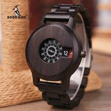 בובו ציפור מותג עץ שעון הובנה מיוחד חיוג תצוגת קוורץ שעון מינימליסטי עיצוב erkek kol saati J R26