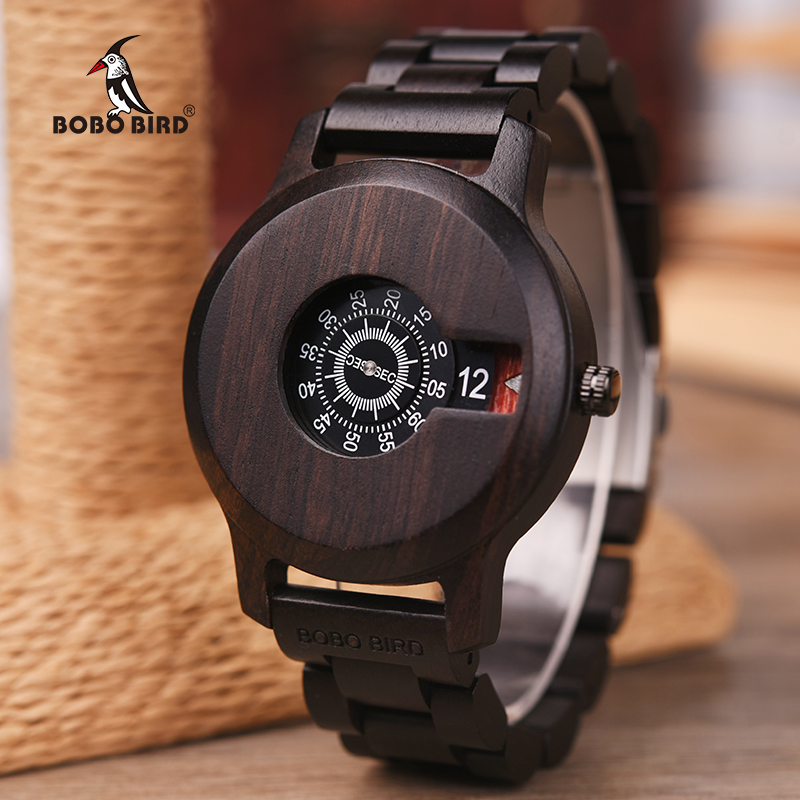 BOBO BIRD Brand Wood Watch Ebony Special Dial Display Quartz Timepiece Minimalist Design Erkek Kol Saati J-R26