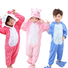 Купить с кэшбэком Baby Boys Girls Pajamas warm Winter animal Stitch pig Pajamas for Kids pijamas Kid Clothes Cute pyjamas Hooded Romper Sleepwear