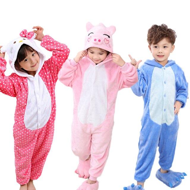 cf67b926bc3a Baby Boys Girls Pajamas warm Winter animal Stitch pig Pajamas for ...