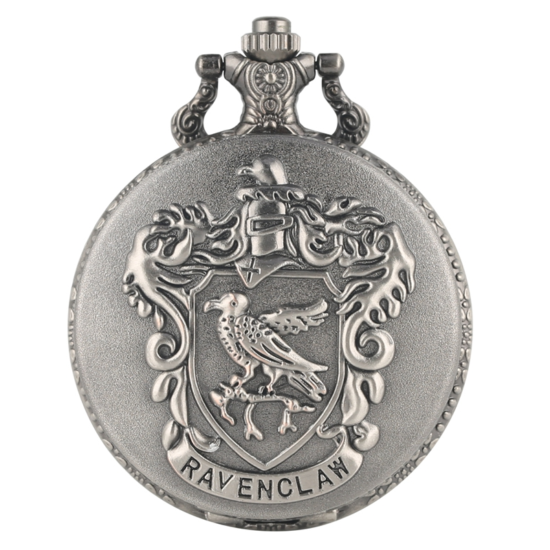 Silver Grey Ravenclaw Potter Hogwarts College Quartz Pocket Watch Analog Eagle Pendant Necklace Clock Gifts For Men Women