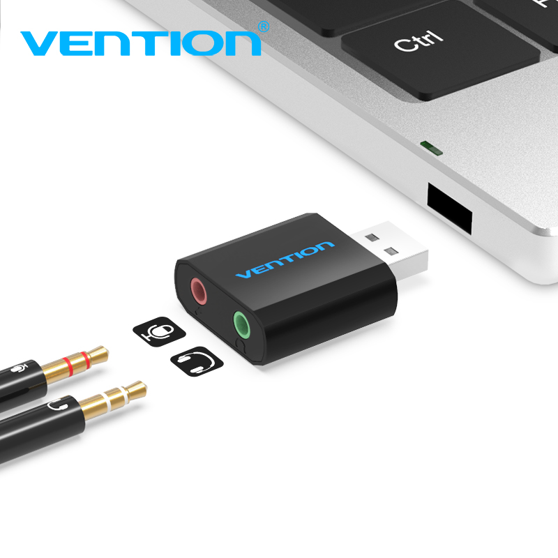 Vention External USB Sound Card 3.5mm Headphone Earphone Adapter Aux Audio Card for Microphone Speaker PUBG Computer Sound Card
