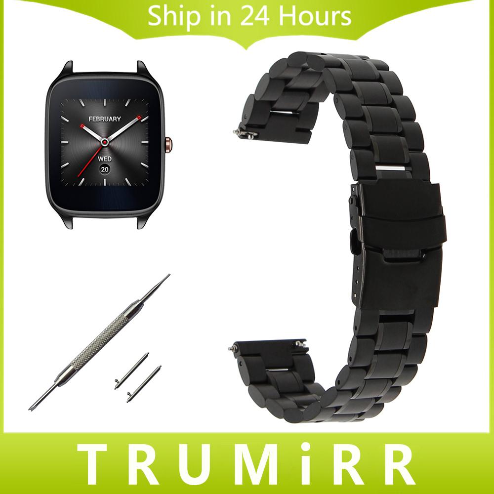 Prix pour 22mm Montre En Acier Inoxydable Bande Sangle De Dégagement rapide Bracelet pour ASUS Zenwatch 1 2 LG G Watch W100 W110 Urbane W150 Pebble temps