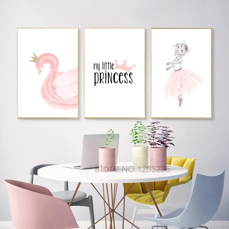 Pink Swan Poster Room Posters Prints Nordic Meisjeskamer ... on Room Decor Posters id=36954