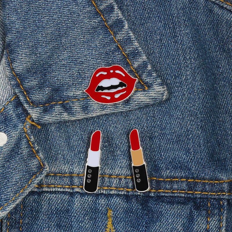 สตรีนิยม Collection Enamel PIN Girl LIPS ลิปสติกสีดำ Rose เข็มกลัดหญิง Fist Power I ฉันต้องการ Badge Lapel Pins เครื่องประดับเข็มกลัด