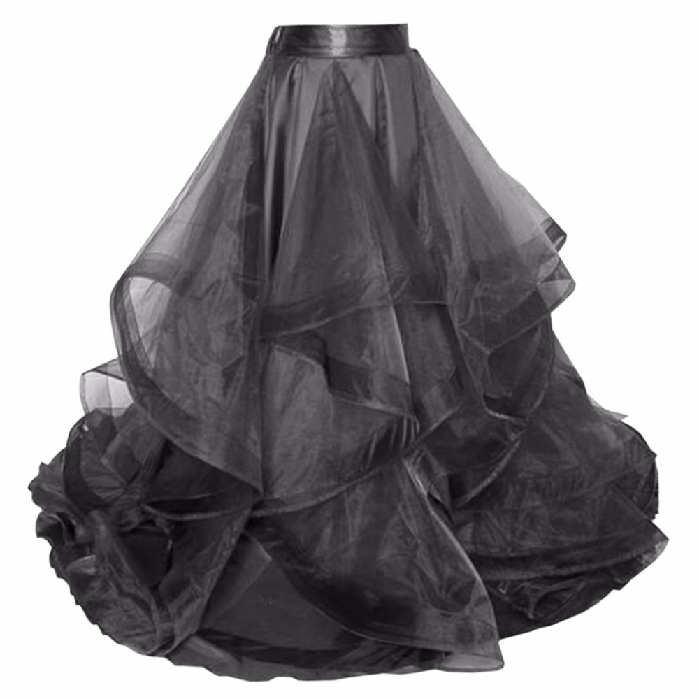 Chic Black Puffy Organza Long Skirts For Bridal To Wedding With Ruffles Tiered Custom Made Zipper Female Adult Skirt Fashion