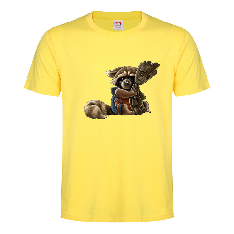 Rocket Raccoon Printed T-Shirts Guardians of the Galaxy Vol. 2 Cospaly Costumes Top Unisex Short Sleeves O-Neck Basic Tee