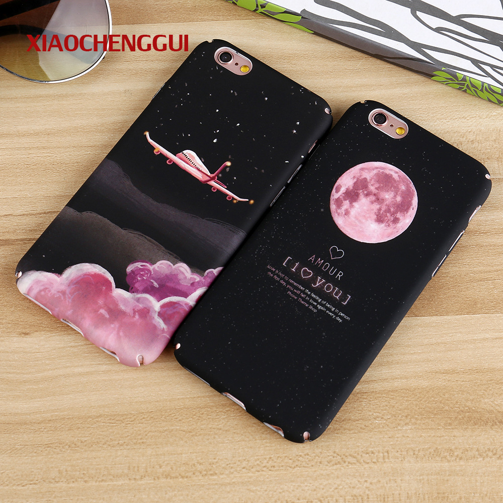 Phone Bags & Cases Fashion Space Moons Cartoon Case For Iphone 7 Case Cute Candy Airplane Frosted Hard Cover Phone Cases For Iphone7 6 6s Plus