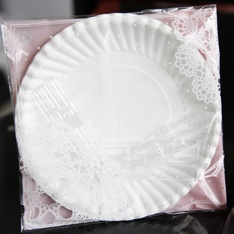 Plastic Wedding Plates.Us 18 99 Disposable 50 Sets Of Paper Plates And Plastic Forks With Pink Lace Bag Packaging For Wedding Birthday Party Supplies In Disposable Party