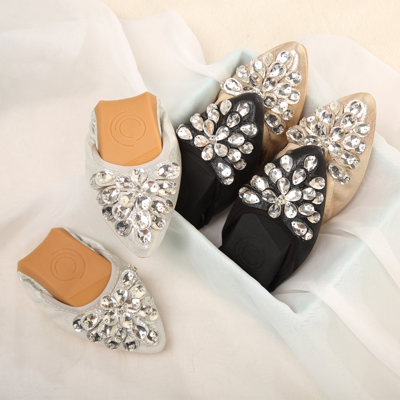 Wexnbry New Women Flat 2018 Crystal Ballet Flats Folding Shoes Casual Rhinestone  Soft Dancing Egg Rolls Shoes Loafers-in Women s Flats from Shoes on ... b0e4125d9cf2