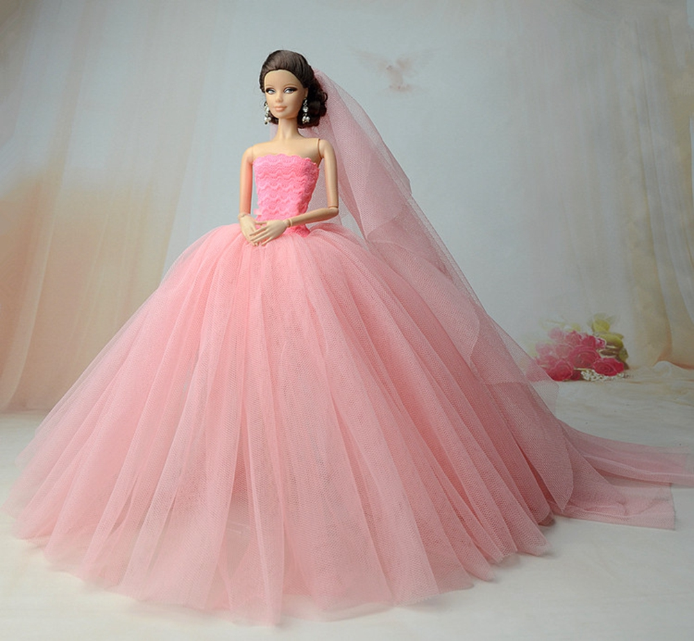 full lace princess evening Net yarn dress with veil for bride barbie ...