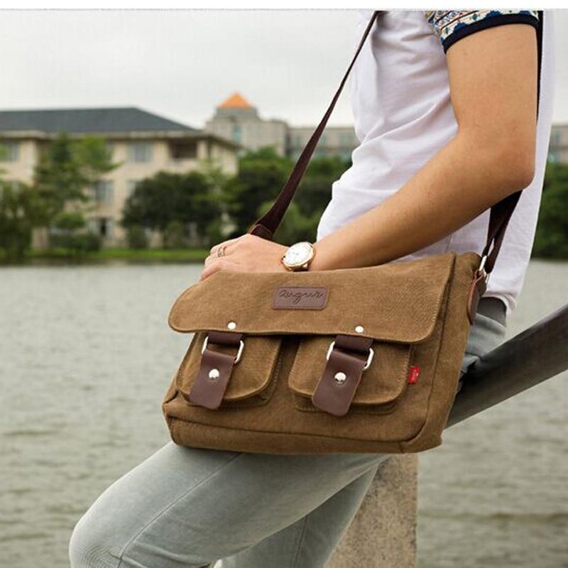 Retro Men Briefcase Business Shoulder Bag Crossbody Canvas Messenger Bags Man Handbag Tote Casual Travel Bag Sac Hommes Bolsas