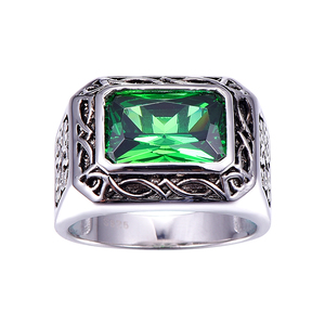 Image 3 - BONLAVIE בסדר 6.8Ct ננו רוסית אמרלד גברים טבעת מוצק 925 סטרלינג רסיס תכשיטי אירוסין חתונה טבעת לגברים גודל 6 14