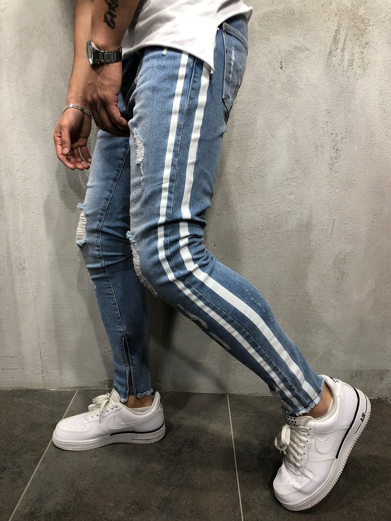 Skinny Jeans For Men Distressed Stretch Jeans Ice Blue Ripped Skinny Jeans Slim Fit Dropshipping Supply White Tape Design