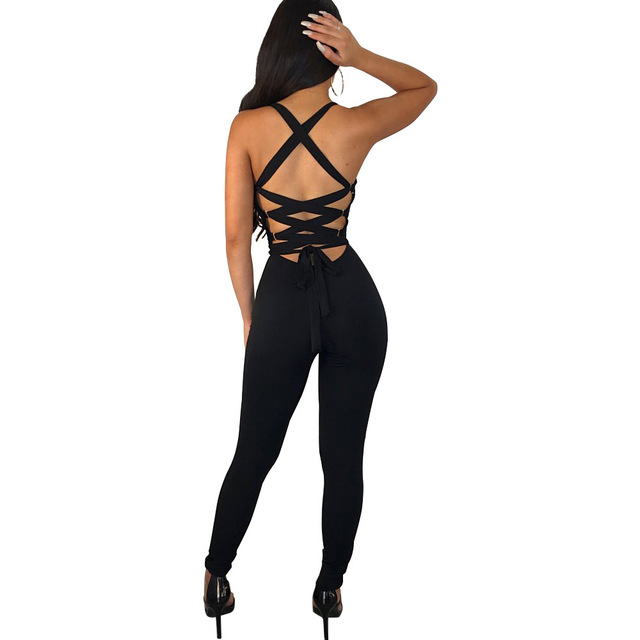 Sexy Bodycon Women Jumpsuit Slim Skinny Solid Color Bodysuit Cross Hollow Out Lady Overall Bodysuit