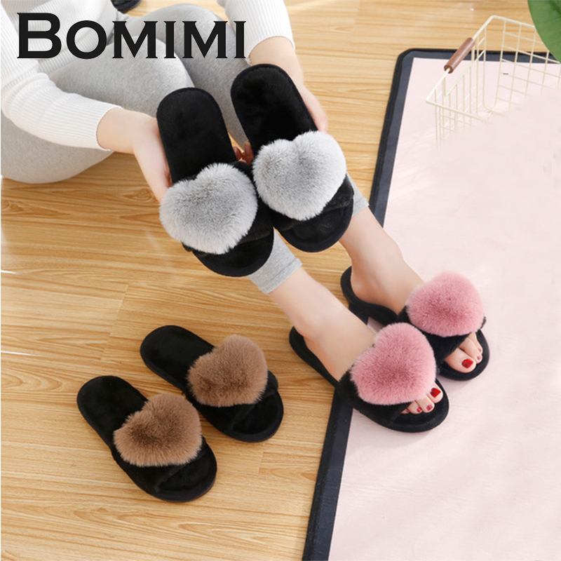BOMIMI Women Cotton slippers Women Warm Heart Slippers Winter Cotton Shoes Indoor Thermal Home shoes Flip Flop 7 Styles