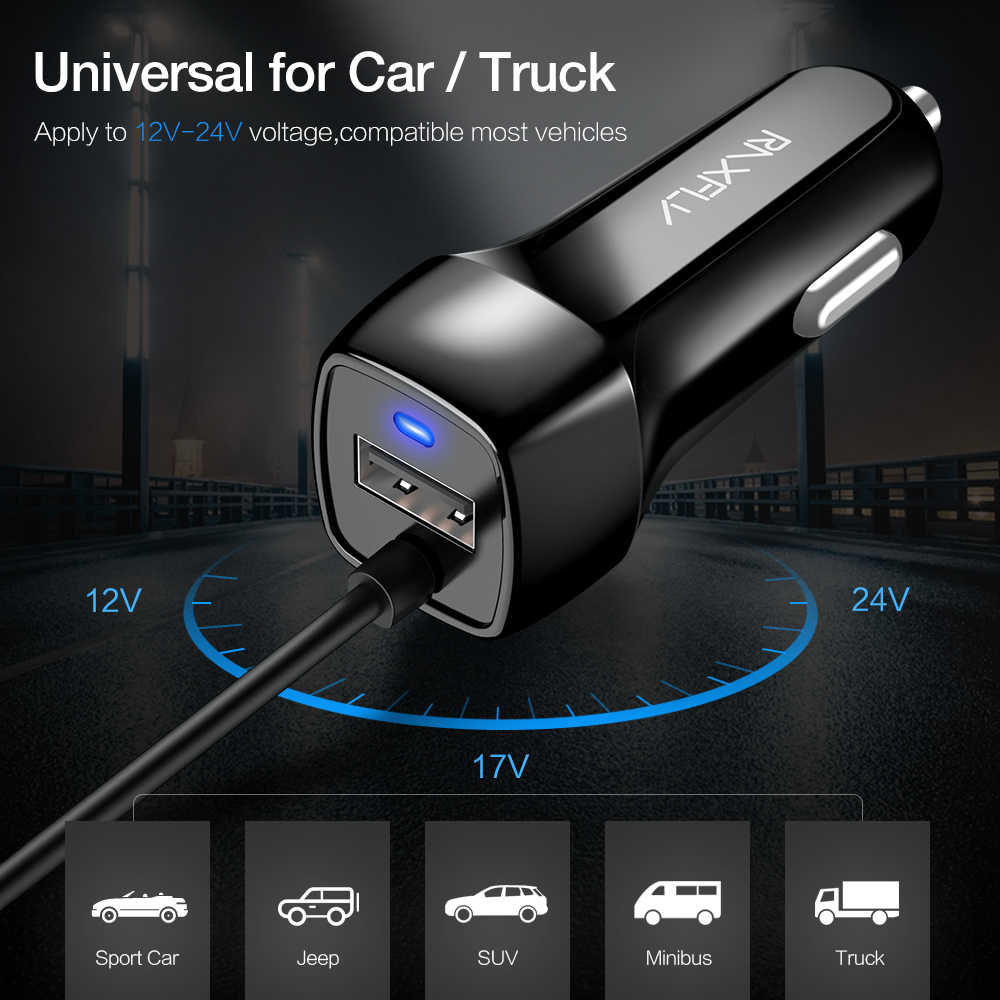 RAXFLY USB Car Charger Micro USB Type C สายเคเบิ้ลรถชาร์จสำหรับ iPhone X XR XSMax รถ USB อะแดปเตอร์สำหรับ Samsung S8 S9