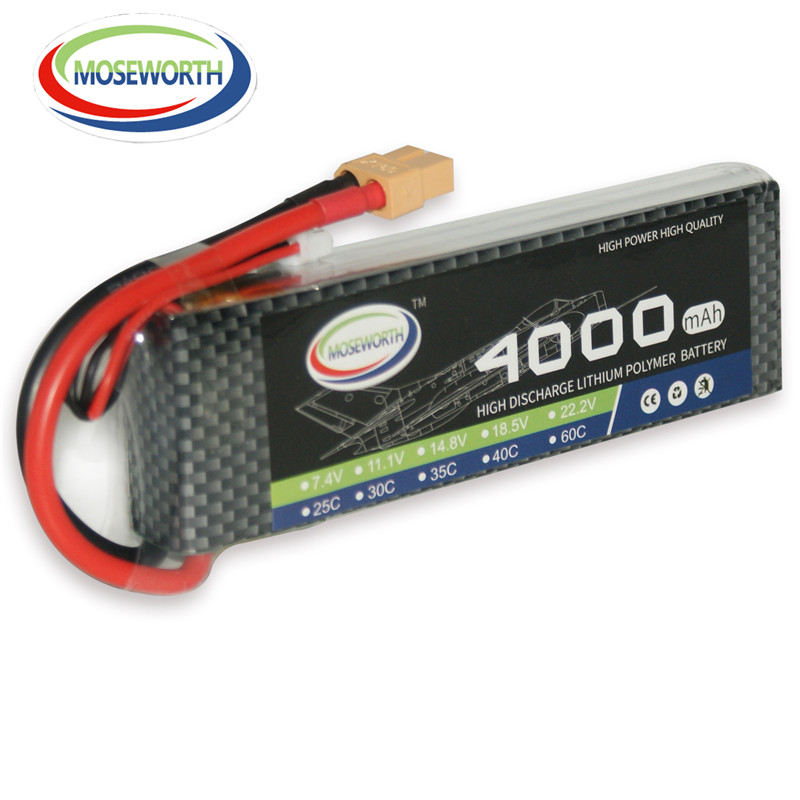 MOSEWORTH RC LiPo Battery 7.4V 4000mAh 25C 2S for Airplane Helicopter Aircraft Quadrotor Drone Li-ion Batteria AKKU T/XT60