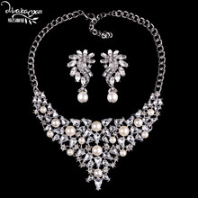 Dvacaman Brand Luxury White Crystal Jewelry Sets Women Girls Statement Wedding Bridal Necklace&Earrings Love Party Gifts LL97