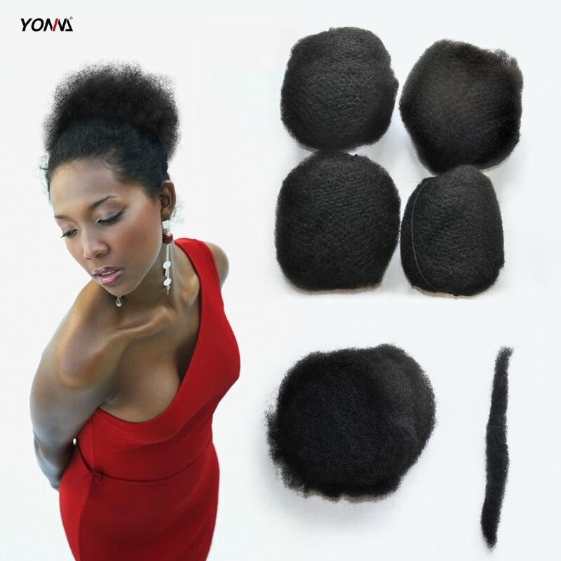 YOTCHOI 4PCS/LOT TIGHT AFRO KINKY BULK HAIR 100% HUMAN HAIR FOR DREADLOCKS,TWIST BRAIDS JET BLACK COLOUR 1# LENGTH 8