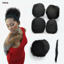 "YOTCHOI 4PCS/LOT TIGHT AFRO KINKY BULK HAIR 100% HUMAN HAIR FOR DREADLOCKS,TWIST BRAIDS JET BLACK COLOUR 1# LENGTH 8""-26""(China)"