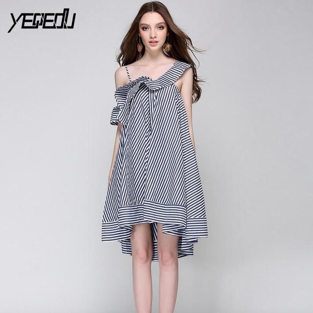 #2760 Ruffles edge Asymmetrical collar Summer2018 Sexy Sleeveless Striped dresses A-line Spaghetti strap Loose Irregualr Elegant