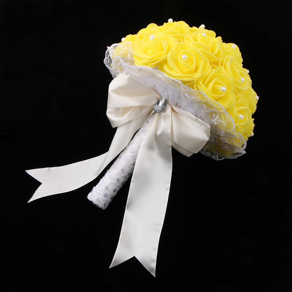 ゴージャスな人工泡ウェディングブライダルブーケ花嫁手縛ら花結婚式のブーケマリアージュ黄色青、紫、緑の花