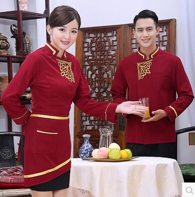 Long Sleeve Chinese Restaurant Waiter Uniform National Waitress Uniform Chinese Hotel Service Uniform Autumn Food Service Wear