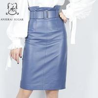 Весенние юбки из натуральной кожи женские синие фиолетовые сексуальные складные высокие пояса OL Сплит посылка бедра овчины женские миди юб