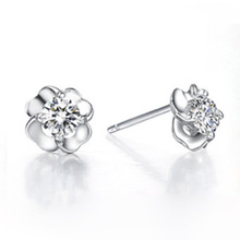 100% 925 Sterling Silver Jewellery Happiness Fortunate grass Sterling Silver Stud Earrings Prime High quality!! Free Delivery