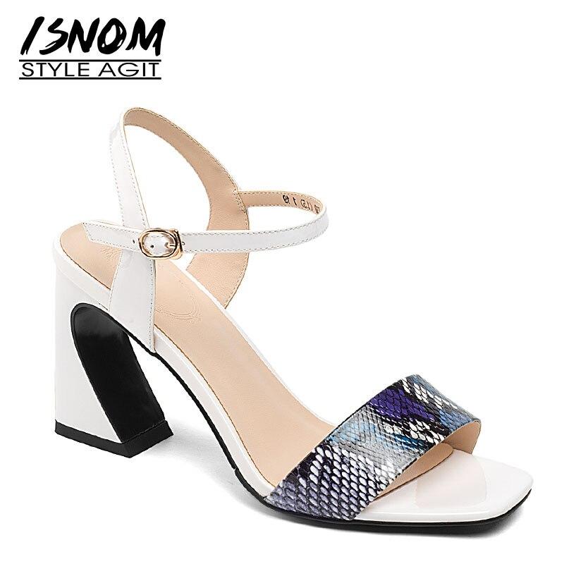 ISNOM Snake Skin Sandals Women Strange Srtyle Sandals Women 2019 New Summer Party High Heels Shoes