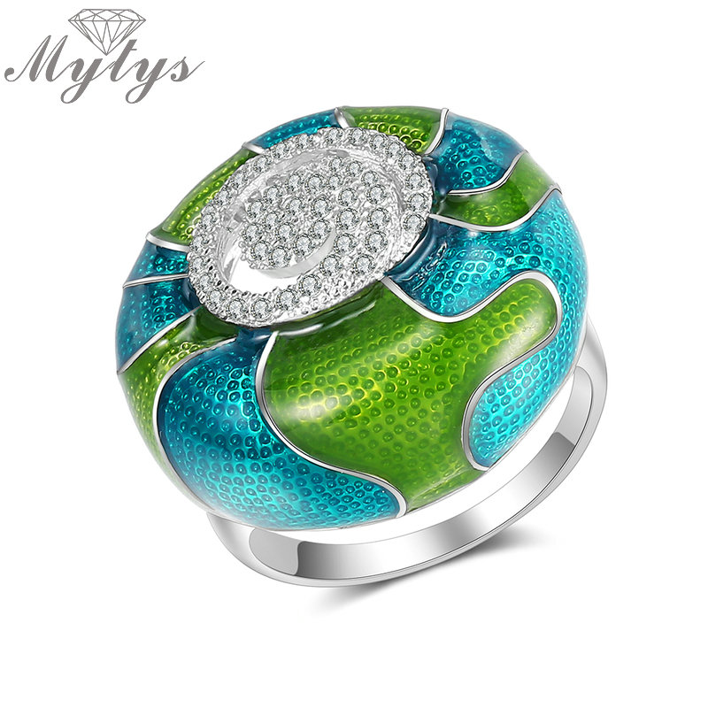Mytys New Design Arts Color Glazed Ring Enamel Crafts Jewelry Gift Ethnic Style Rings for Women Green Purple Color R2010 R2011 6pcs of stylish color glazed round rings for women