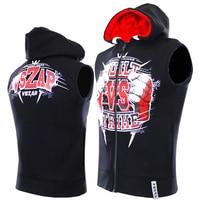 VSZAP Fist Fight Mens Sleeveless Hoodie Sweater Coat MMA Male Combat Sporing Hoodies Muay Thai Martial
