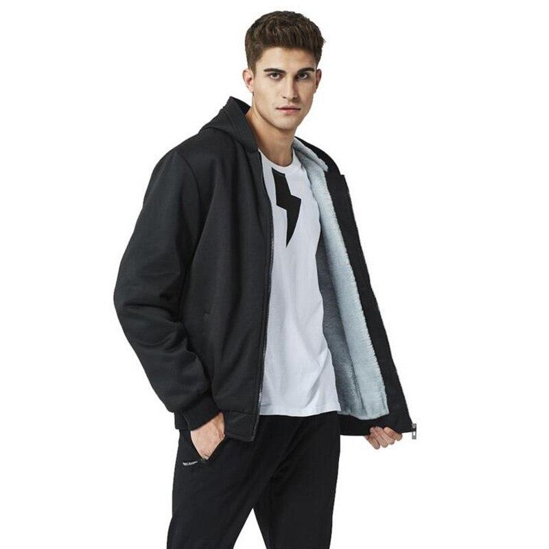 US SIZE Men's WINTER clothing thickened hoodies and coats women men blank grey black Zipper hoodies thicken fleece hoodie M L XL