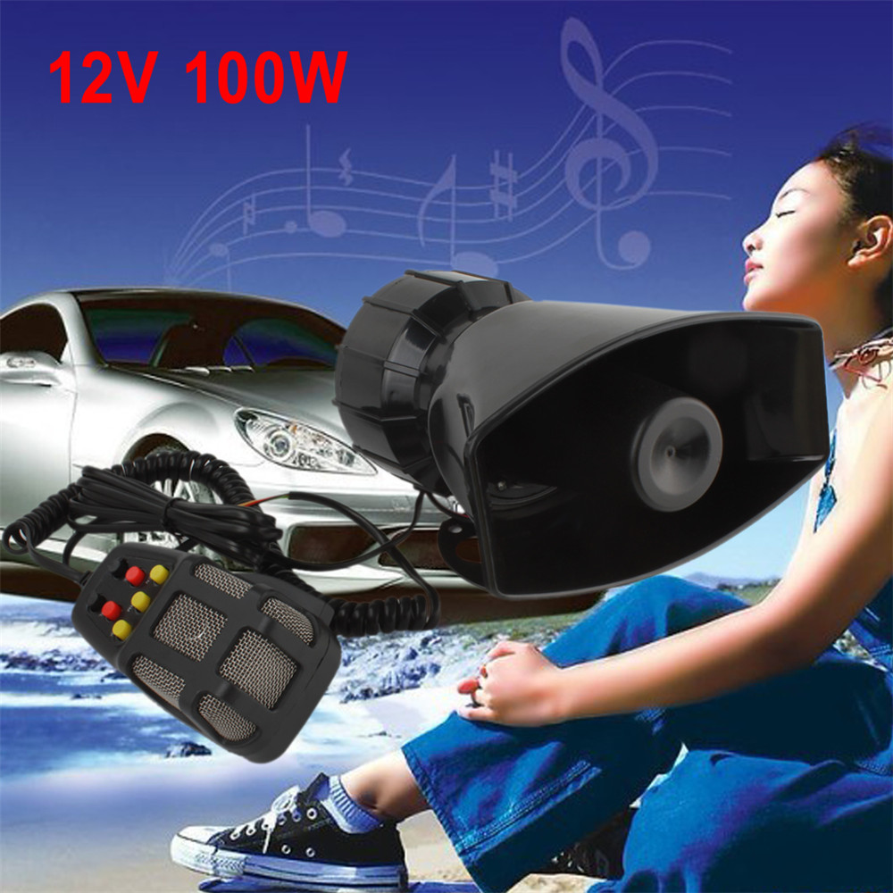12V 100W 7 Sound Car Motorcycle Electronic Warning Siren Speaker Horn Alarm Firemen Ambulance Loudspeaker with MIC Microphone