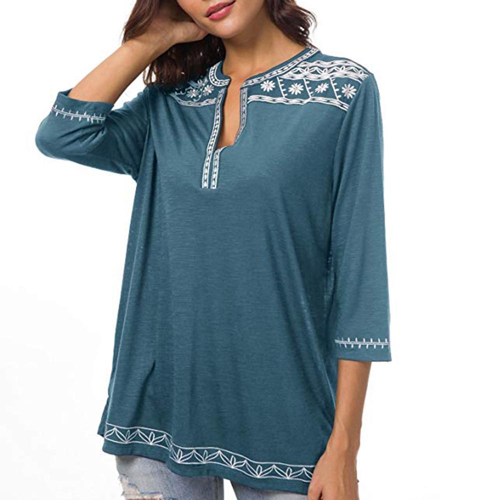 Women's Boho Trim V-Neck T-Shirt 3
