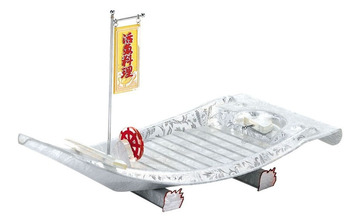 Free Shipping Japanese Restaurant, 26 in./66cm Acrylic Silver Sushi Boat with Flag Serving Tray for Sushi Sashimi
