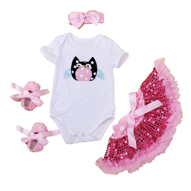 Owl New Born Baby Girl Summer Clothes Bodysuit Paillette Tutu Skirt Crib Shoes Headband Toddler Girl Clothing Birthday Outfit 0 18 summer infant toddler shoes breathable crib baby shoes soft sole fashion baby girl shoes