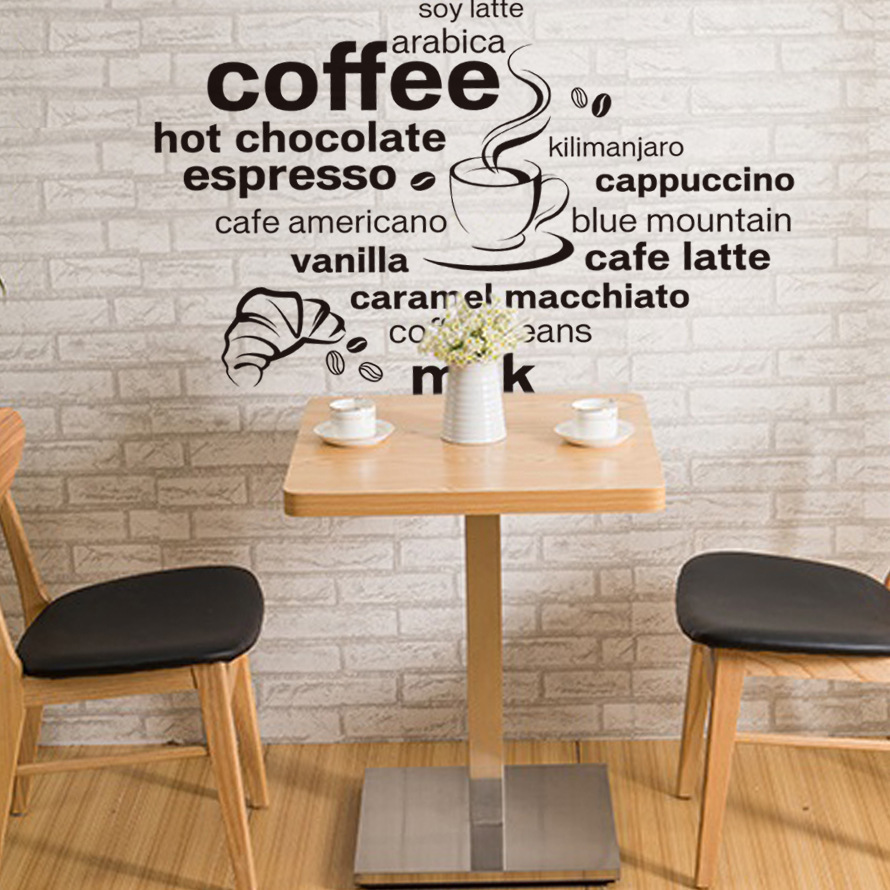 modern coffee chocolate words wall stickers decals home cafe restaurant kitchen dining room showcase decor wall papers poster