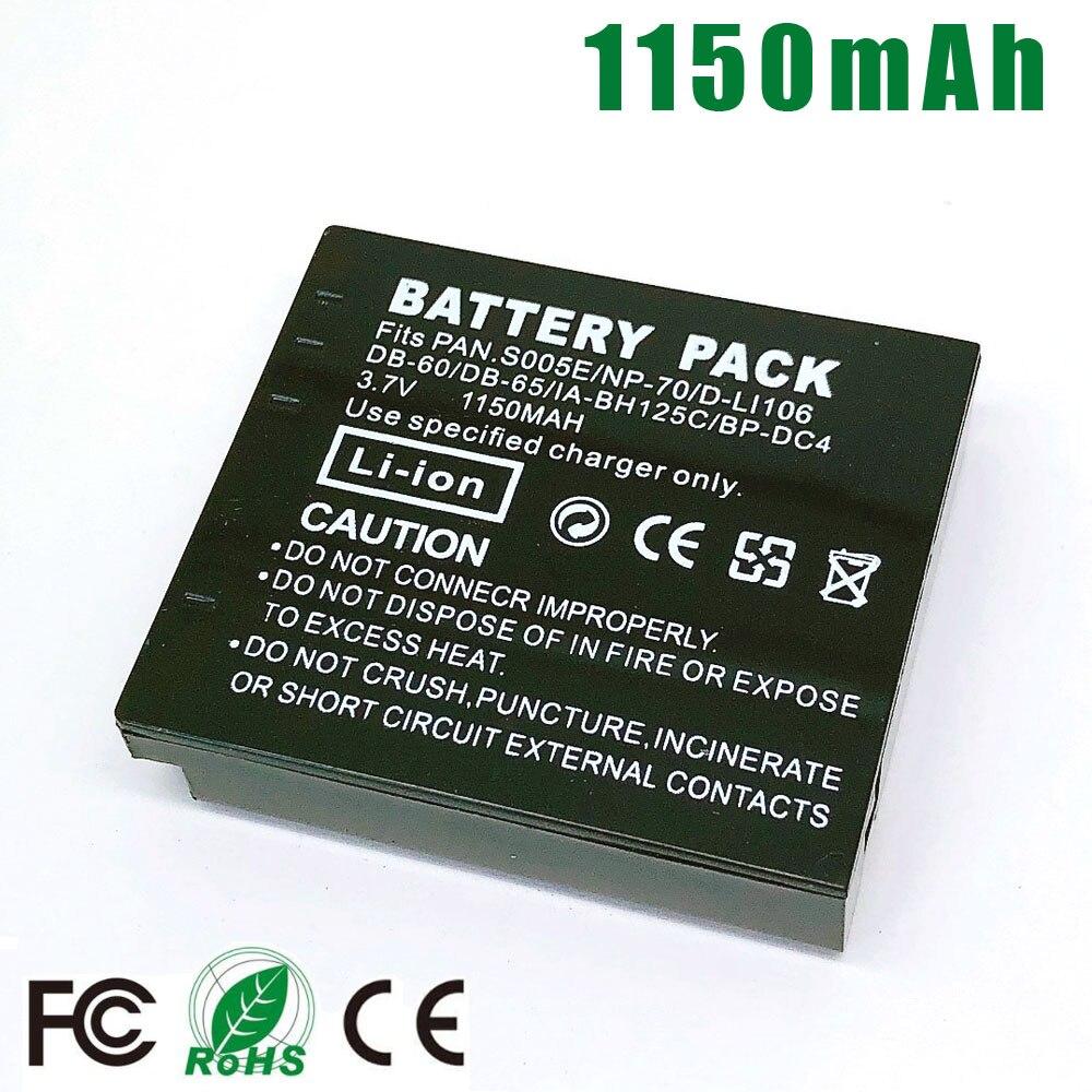 1150mAh 2x Bateria para Panasonic CGA-S005 DMW-BCC12