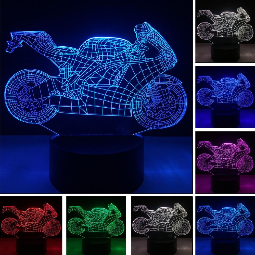 Luzes da Noite 3d luminaria motocicleta conduziu a Fonte de Luz : Lâmpadas Led
